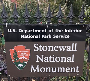 Stonewall National Monument - Stonewall National Monument sign at the entrance to Christopher Park, Greenwich Village, New York City.