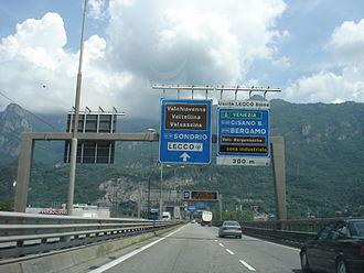 Strada statale 36 del Lago di Como e dello Spluga - Exit at Lecco-Bione