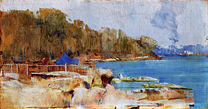 Curlew Camp - Arthur Streeton's Sirius Cove (c. 1890) shows the eastern shore of Little Sirius Cove where Curlew Camp was located.