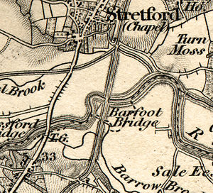 Bridgewater Canal - Ordnance Survey map of 1843 showing the canal crossing the River Mersey at Barfoot Bridge, Stretford