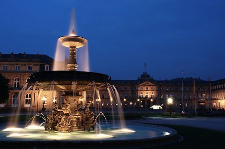 The northern fountain and the New Castle in Stuttgart, Germany.