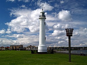 Roker - The lighthouse from the Old South Pier was removed to Roker seafront in 1983. Designed by Thomas Meik, it dates from 1856