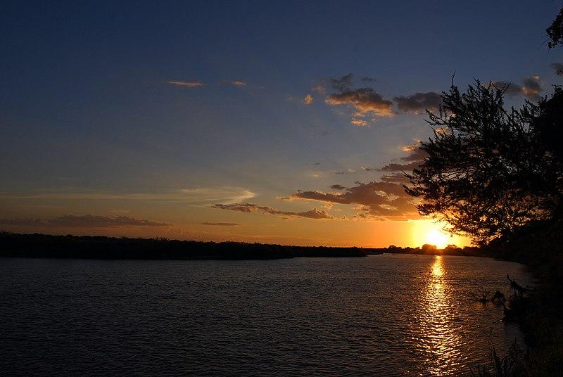 Sun rise from the banks of River Ganga at Rishikesh, Uttarakhand