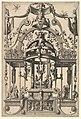 Surface Decoration, Grotesque with Strapwork, Burial Scene in the Tempietto, in the Bas Relief Esther before Ahasuerus from Veelderleij Veranderinghe van grotissen ende Compertimenten...Libro Primo MET DP823063.jpg
