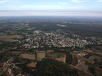 Canton of Le Crès - Aerial view of Sussargues