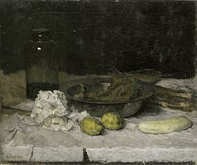 Still life with a a bottle and tin plate