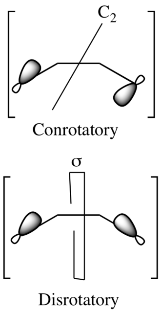Woodward–Hoffmann rules - The transition state of a conrotatory closure has C2 symmetry, whereas the transition state of a disrotatory opening has mirror symmetry.