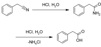 Phenylacetic acid - Image: Synthesis of phenylacetic acid from benzyl cyanide