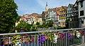 Tübingen - Häuserzeilt mit Stiftskirche und Hölderlinturm, Neckar.jpg