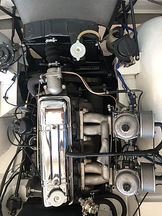 Triumph TR4 - Late TR4 engine layout, showing twin Zenith Stromberg carburetors and short neck radiator