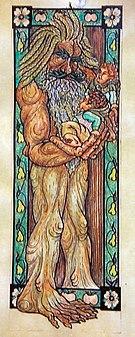 Representación de Bárbol con los hobbits Merry y Pippin.