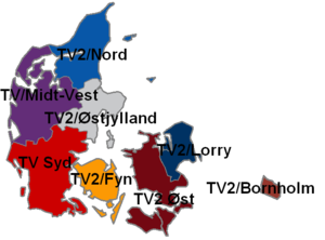 TV 2 (Denmark) - Image: TV2 regions