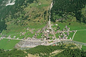 Täsch - Täsch village, the car park for the Matterhorn station is visible to the left