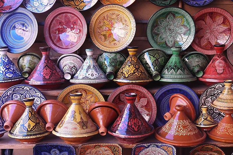 File:Tajines in a pottery shop in Morocco.jpg