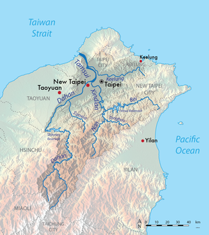 Keelung River - Map showing the location of the Keelung River within the Tamsui River watershed