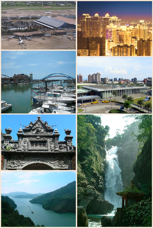 Taoyuan, Taiwan - From left to right, top to bottom: China Airlines passenger plane at Taoyuan International Airport, Taoyuan district, Yong'an Fishing Port, HSR Taoyuan Station, Baroque architecture on Daxi Old Street, Shihmen Reservoir, Little Wulai Waterfall