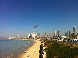 Looking north along the Tel Aviv beachfront