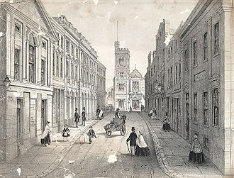 Swansea - Temple street, Swansea, showing the bank, theatre and post office (1865)