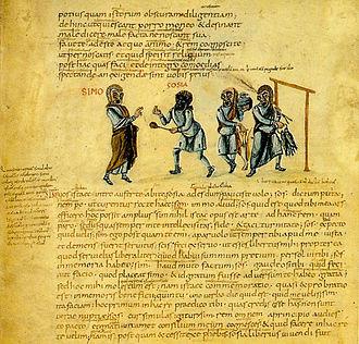 Andria (comedy) - Illustration of Terence's Andria, Act 1, Scene 1, from Codex Vaticanus Latinus 3868, ca. 825 AD
