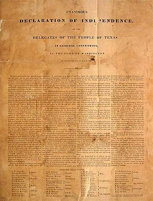 Consultation (Texas) - Image: Texas Declaration of Independence