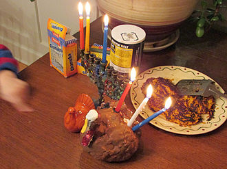 Thanksgivukkah - Menurkey and sweet potato latkes for Thanksgivukkah
