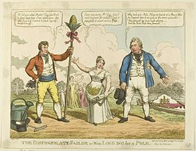 """""""The Disconsolate Sailor"""", 1811: a cartoon by Charles Williams about Catherine Tylney-Long's choice between the Duke of Clarence (right) and William Wesley-Pole (left) (Source: Wikimedia)"""