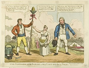 "William Pole-Tylney-Long-Wellesley, 4th Earl of Mornington - Charles Williams, ""The Disconsolate Sailor"", 1811 - a cartoon about Catherine's choice between the Duke of Clarence (right) and William Wesley-Pole (left)."