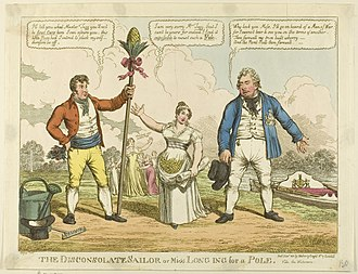 """William Pole-Tylney-Long-Wellesley, 4th Earl of Mornington - Charles Williams, """"The Disconsolate Sailor"""", 1811 - a cartoon about Catherine's choice between the Duke of Clarence (right) and William Wesley-Pole (left)."""