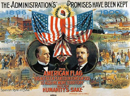1900 Campaign poster for the Republican Party depicting American rule in Cuba The Administration's Promises Have Been Kept.jpg