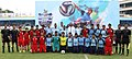 The Air Officer-in-charge Administration, Air Marshal H.B. Rajaram and other senior officers with the football players of IAF, at the opening ceremony of 54th edition of Subroto Cup, at Ambedkar Stadium, in New Delhi.jpg