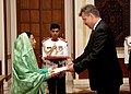 The Ambassador of Latvia to India, Mr. Hardijs Baumanis presented his credentials to the President, Smt. Pratibha Devisingh Patil at Rashtrapati Bhavan in New Delhi on September 26, 2007.jpg
