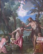 The Baptism of Christ by Veronese and workshop, Getty Center.JPG