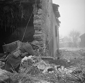 Operation Blackcock - Soldier firing on German positions during 12th Corp's offensive north of Sittard, 16 January 1945