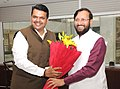 The Chief Minister of Maharashtra, Shri Devendra Fadnavis meeting the Minister of State for Environment, Forest and Climate Change (Independent Charge), Shri Prakash Javadekar, in New Delhi on June 08, 2015.jpg