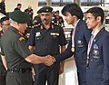 The Chief of Army Staff, General Bipin Rawat congratulating Nb. Sub. Neeraj Chopra, Gold Medallist (Javelin Throw) and Hav. Gaurav Solanki, Gold medallist (Boxing) for their outstanding performance in Commonwealth Games 2018.JPG