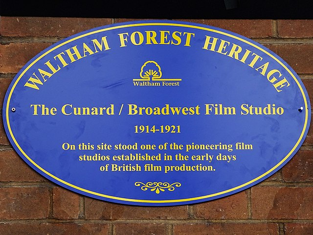 Blue plaque № 42748 - The Cunard / Broadwest Film Studio 1914-1921 On this site stood one of the pioneering film studios established in the early days of British film production.