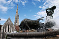 The Gefion Fountain against background of St. Alban's Church. Copenhagen, Denmark, Northern Europe.jpg