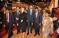 The Minister of State (Independent Charge) for Tourism, Dr. K. Chiranjeevi with the Prince of Asturias, Mr. Felipe and the Princess of Asturias, Ms. Letizia, at Incredible India pavilion, at Fitur on January 31, 2013.jpg