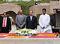 The President of Seychelles, Mr. James Alix Michel paying homage at the Samadhi of Mahatma Gandhi, at Rajghat, in Delhi on June 02, 2010.jpg