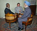 The Prime Minister, Dr. Manmohan Singh, the President of Brazil, Mr. Luiz Inacio Lula da Silva and the President of South Africa, Mr. Thabo Mbeki sitting in historic IBSA Chair, in Brazil, on September 13, 2006.jpg