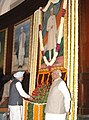 The Prime Minister, Dr. Manmohan Singh paying tributes at the portrait of former Prime Minister, Pandit Jawaharlal Nehru on his 118th birth anniversary at Parliament House, in New Delhi on November 14, 2007.jpg