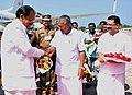 The Vice President, Shri M. Venkaiah Naidu being received by the Chief Minister of Kerala, Shri Pinarayi Vijayan, on his arrival, in Thiruvananthapuram on February 16, 2018.jpg
