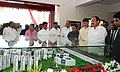 The Vice President, Shri M. Venkaiah Naidu looking at the model of new campus of Vellore Institute of Technology, in Amaravati, Andhra Pradesh.jpg