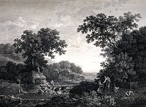 George Smith (artist) - The apple gatherers (engraving by William Woollett)