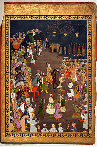 Islamic marital practices - The Mughal Emperor Shah Jahan attends the marriage procession of his eldest son Dara Shikoh. Mughal-Era fireworks were utilized to brighten the night throughout the wedding ceremony.