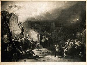 John Wesley - The rescue of the young John Wesley from the burning rectory. Mezzotint by Samuel William Reynolds.