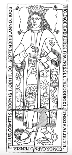 Theobald II of Blois - Non-contemporary slab marking the tomb of Theobald II in the Abbey of Saint-Père-en-Vallée