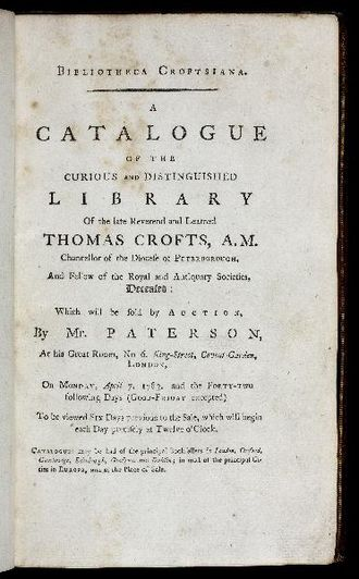 Thomas Crofts - A catalogue of his collection