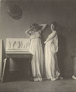 "Thomas Eakins (American - (Two Female Models in Classical Costume with Eakins' Sculpture ""Arcadia""). - Google Art Project.jpg"