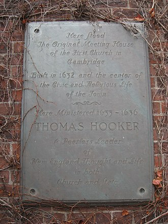 Thomas Hooker - Plaque honoring Hooker's ministry at the First Church of Cambridge, Cambridge, Massachusetts